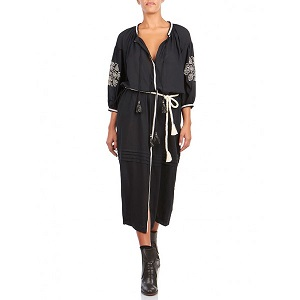 Lefkada Shirt Dress - Black & Ecru