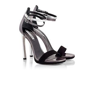 Black suede & metallic leather stiletto heel sandals