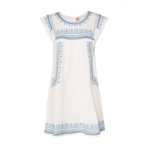 Mini Dress - White & Blue  by Queen Calliope