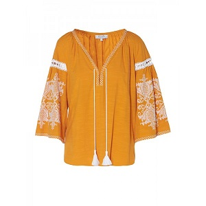 Penelope Blouse - Mustard & White  by Ancient Kallos