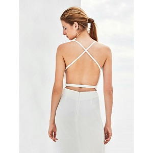 Dress With Open Back - White  by Monochrome