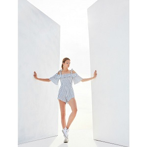 Striped Playsuit - Blue & White