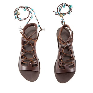 ANTIGONE STONE embellished brown leather lace-up sandals