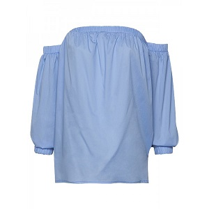 Off The Shoulder Poplin Top - Baby Blue
