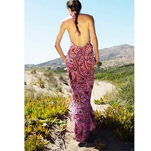 Backless Printed Φόρεμα