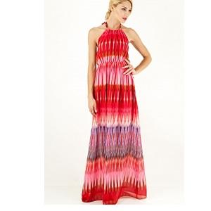Μακρύ κοραλί εμπριμέ φόρεμα