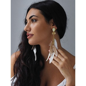 WHITE FEATHERS EARRINGS