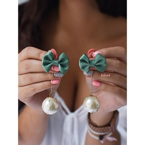 GREEN BOW&PEARL EARRINGS