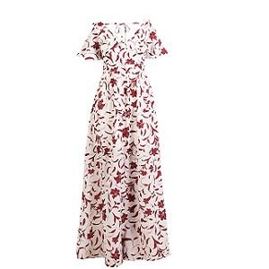 Μάξι υφαντό, κοντομάνικο φόρεμα
