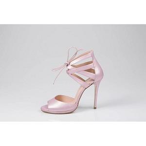 Δερμάτινα πέδιλα σε ροζ περλέ χρώμα