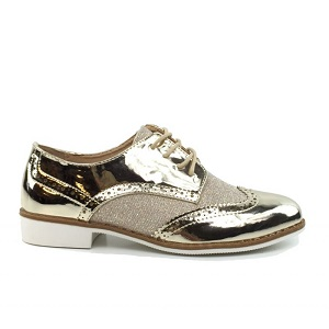 Metallic gold loafers
