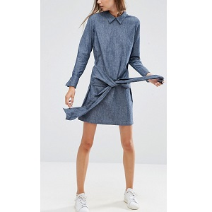 Denim Tie Front Shirt Dress