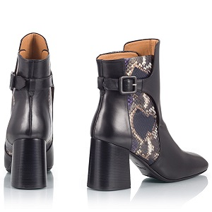Black leather snake-print  ankle boots