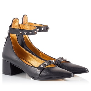 Ras Black leather pyramid-studded ankle-strap pointy pumps