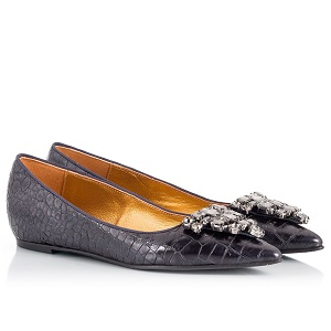 Ras Black croc-effect leather crystal-embellished pointy ballet flats