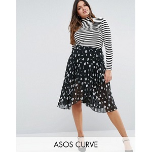 ASOS CURVE Pleated Midi Skirt with Wrap Front Detail in Floral Print