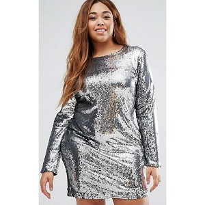 Boohoo Plus Silver Sequin Shift Dress