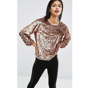 ASOS Slouchy Top In All Over Sequins