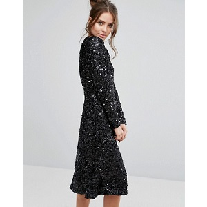 Warehouse Sequin Midi Dress