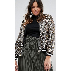 River Island Plus Sequin Bomber