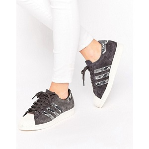 adidas Originals Black Superstar Trainers With Faux Snake Detail