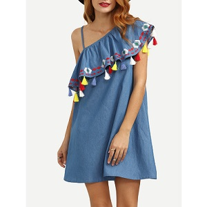 Blue One Shoulder Ruffle Tassel Embroidered Dress