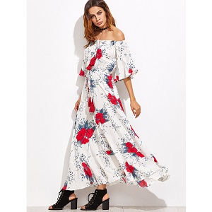 White Flower Print Off The Shoulder Drawstring Dress