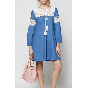 Φόρεμα denim με διακοσμητική δαντέλα