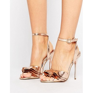 Missguided Ruffle Detail Metallic Heeled Sandal