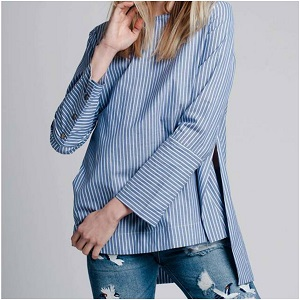 Bleu Striped Asymmetric Top