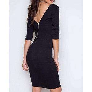 Φόρεμα κολλητό γυναικείο μαύρο με φερμουάρ