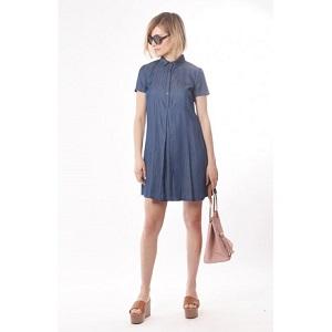 Φόρεμα tencel μίνι με άνοιγμα πίσω