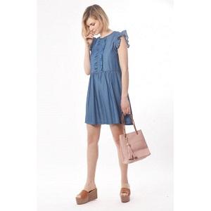 Φόρεμα tencel μίνι με βολάν στο μανίκι