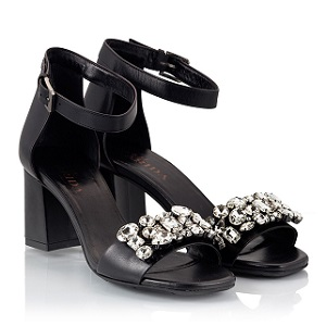 Black leather crystal decorated block heel sandals