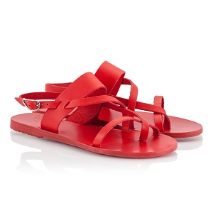 Ancient Greek Sandals ALETHEA Red leather straps flat sandals