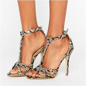 Public Desire Betsy Snake Print T Bar Heeled Sandals