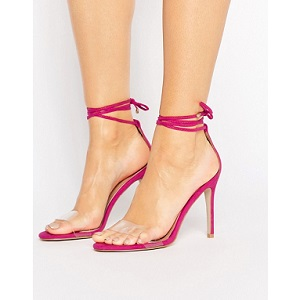 Public Desire Leo Clear Strap Tie Up Heeled Sandals