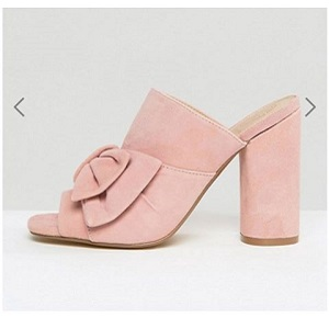 KG By Kurt Keiger Jessika Pink Suede Bow Heeled Mules