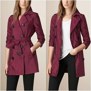 Burberry Technical Trench Coat Leather Trim | BERRY PINK