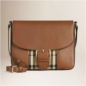 Burberry Bag Small Horseferry Check and Leather Crossbody | HONEY / TAN