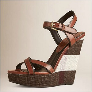 Burberry Shoes Canvas Check Leather Platform Wedges | DARK BROWN