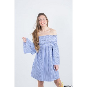 Φόρεμα μπλε με φαρδύ μανίκι