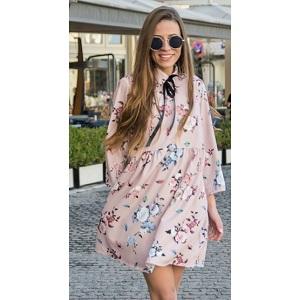 Φόρεμα ροζ με γιακά