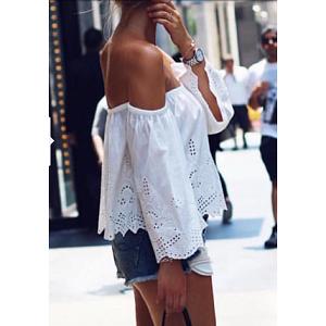 Μπλούζα λευκή με κιπούρ λεπτομέρειες