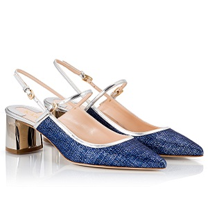Fratelli Karida Denim and leather pumps