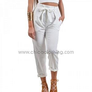 Ψηλόμεσο παντελόνι με ζώνη λευκό