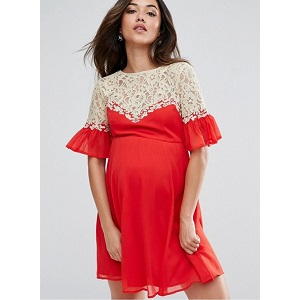 ASOS Maternity Skater Dress with Lace Yoke