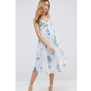ASOS Maternity Mesh Floral Ruched Midi Dress