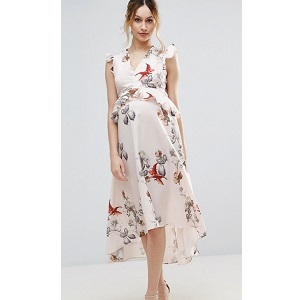 Hope & Ivy Maternity Floral Print Hi Lo Midi Dress