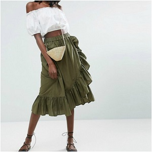 ASOS Wrap Midi Skirt in Cotton with Ruffle Hem